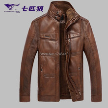 Genuine leather clothing men's jacket sheepskin short design male plus velvet stand collar sheepskin outerwear