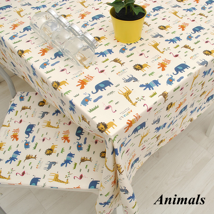 New Arrival Zoo Series Cute Cartoon Dining Table cloth 100% cotton Tablecloth towel cover 140*210 Accept Customized 8 Sizes(China (Mainland))