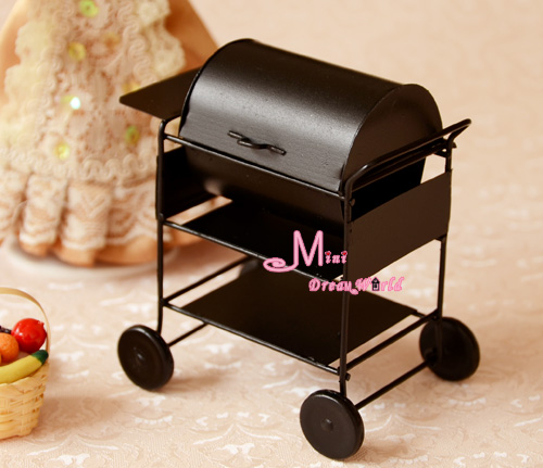 Quality Black Metal Barbecue Grill 1/12 Dollhouse Miniature Kitchen Garden(China (Mainland))