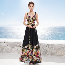 Formal Evening Dress Ever-Pretty EP09016BP Sexy Lady Double V-neck Chiffon Floral Printed Evening Dress Fast Shipping(China (Mainland))
