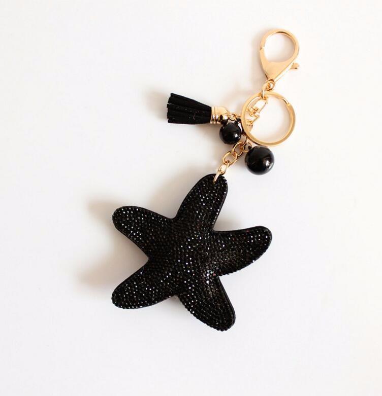 2016 Fashion Charm Rhinestone leather Starfish Tassel Pendant keychain alloy bag Key ring Holder for Women Gift Souvenir Jewelry