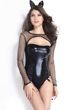 2015 NEW Sexy Costumes Bunny & Cats Hollow Out Long sleeve Halloween Miss Kitty Cat Costume LC8830(China (Mainland))