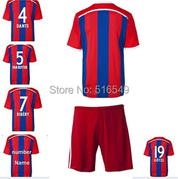 2014-2015  Ribery # 7 home red jersey,Top thailand quality shirt &short 14 15  home  jersey