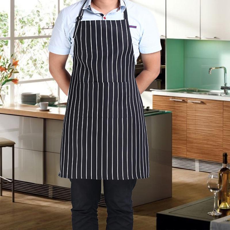 Fashion Restaurant Waiter Chef Apron Stripe Grid Apron With 2 Pockets Kitchen Water-proof Apron(China (Mainland))