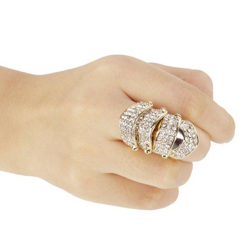Golden Rhinestone Punk Full Finger Armor Ring--UK Size: O 1/2 Wonderful Gift(China (Mainland))
