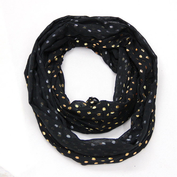 12 Colors 2015 New women infinity scarf DOT foil print cotton snood circle scarf neck warmer cowl ring collar bufandas cuellos(China (Mainland))