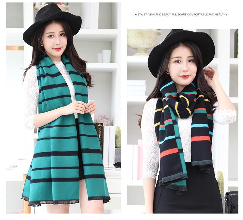 190*60CM 2016 winter infinity striped winter warm pashmina cashmere unisex acrylic  wrap shawls female knitted fall scarf women