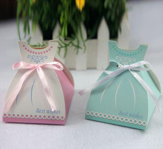Free Shipping 50pcs/lot European wedding favors creative candy box,Blue/Pink Skirt favor box,baby shower birthday candy box(China (Mainland))