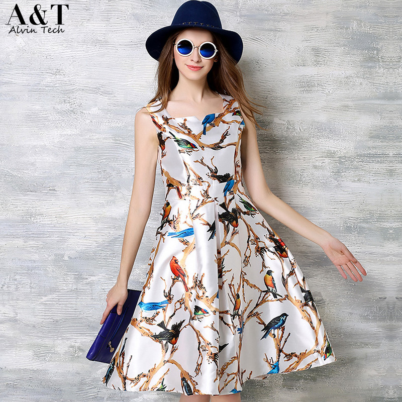 Women Birds Animal Prints Tank Dresses Ladies 2016 Summer Autumn Fashion Cute Slim A-line Knee Length Casual Formal Vestidos XXL(China (Mainland))