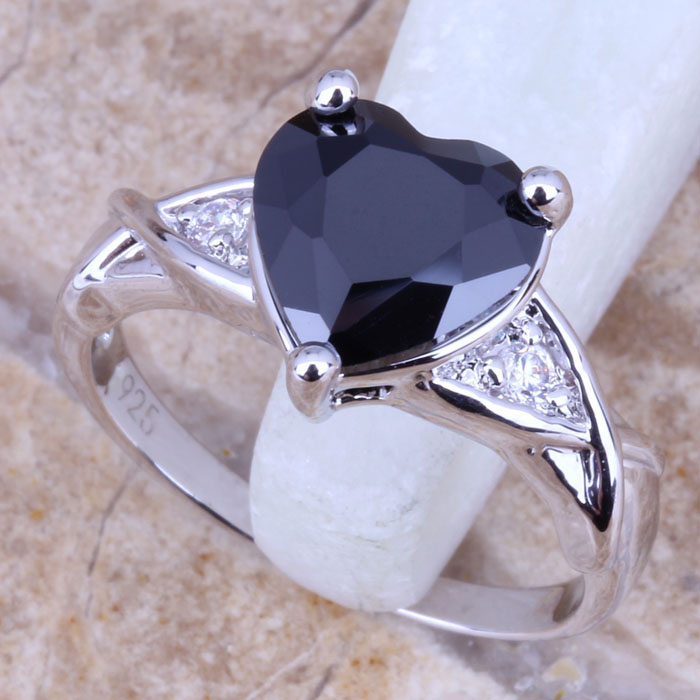 Outstanding Black Sapphire White Topaz Silver Stamped 925 Women's Jewelry Ring Size 6 / 7 8 9 Free Gift Bag R0473 - jewelry1688 store
