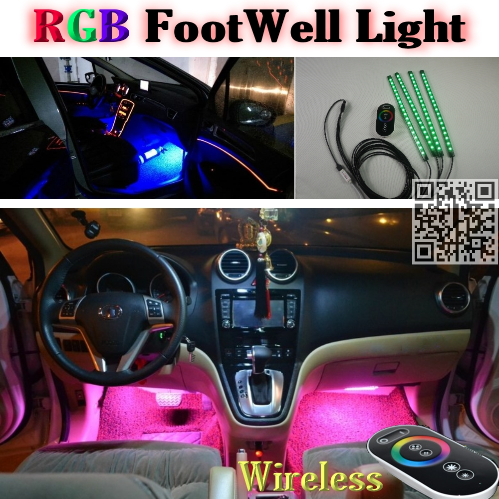 2.4G Wireless Control 360 RGB Color Neon Glow Interior UnderDash Foot Floor Accent Ambient Light For Chevrolet Trax Tracker(China (Mainland))