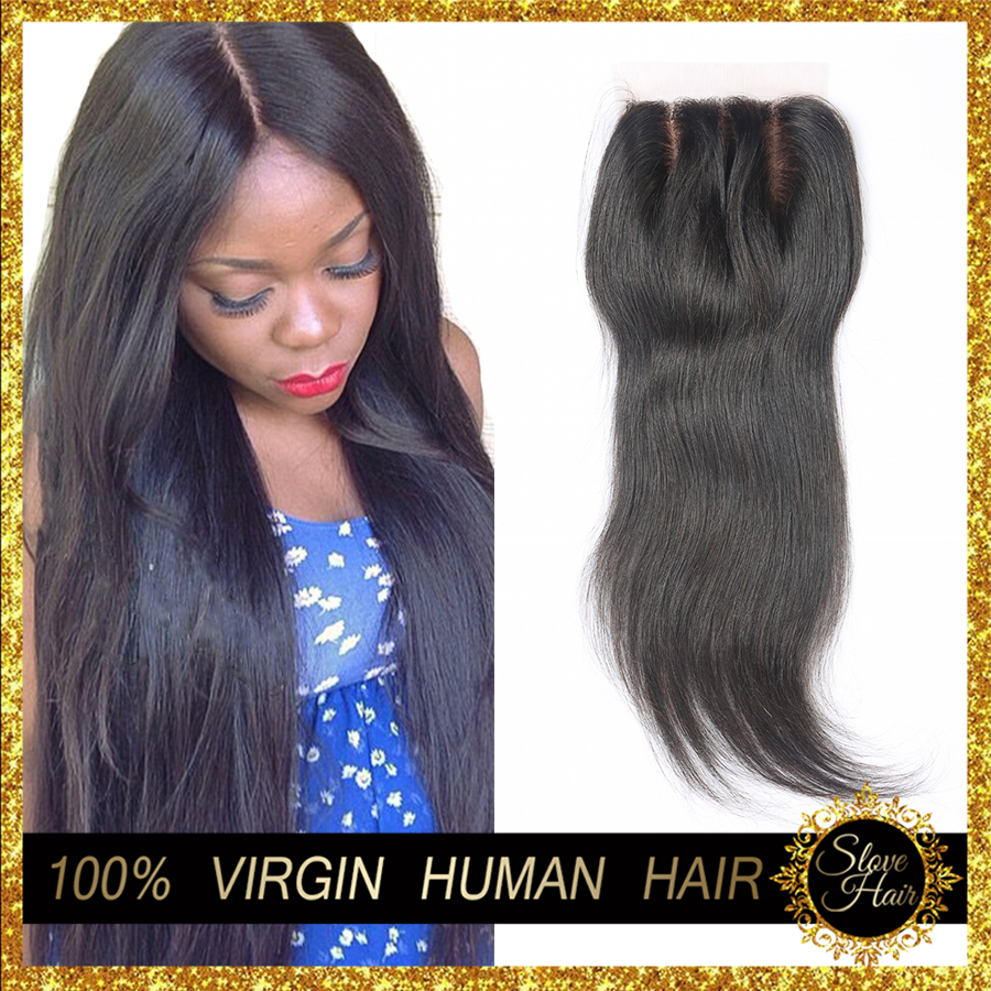 DHL Free 7A Cheap Silk Base Closure Straight Brazilian Virgin Human Hair Closure Silk Top Lace Closures With Baby Hair 3 Middle(China (Mainland))