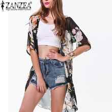 Summer Style 2016 Women Casual Loose Chiffon Blusas Ladies Boho Floral Blouse Long Kimono Coat Cardigan Outwear Plus Size S-XXL(China (Mainland))