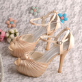 Wedopus Satin Champagne Shoes Sandals Bridal High Heels Wedding Pumps Dropshipping