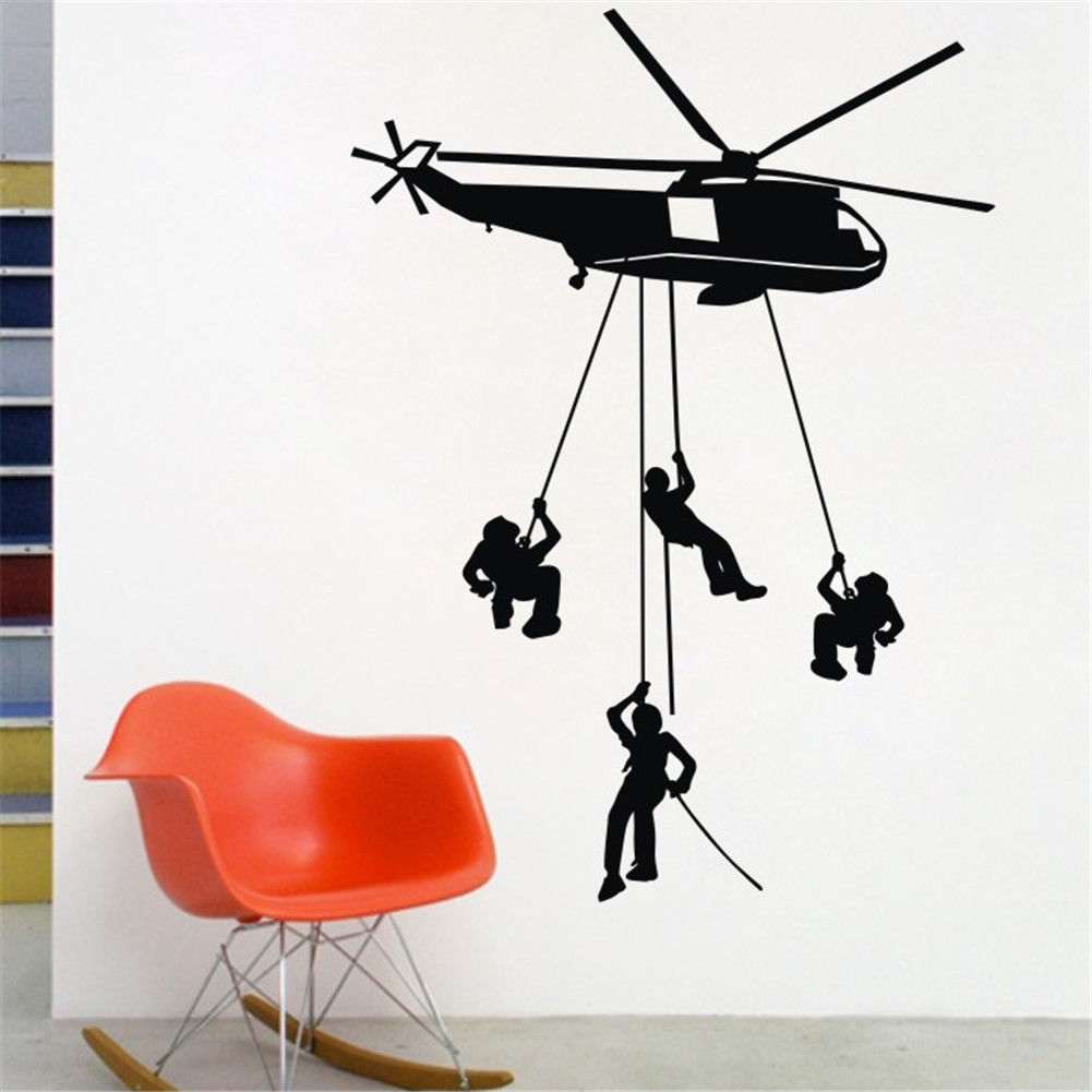 Helicopter Wall Stickers Kids Boys Bedroom Decor 4 Army Solider Mural Black Sale free shipping ws113(China (Mainland))