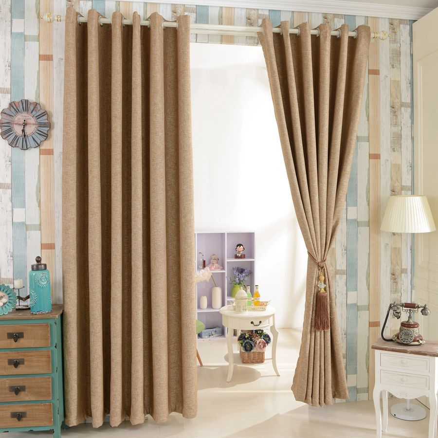 House design beautiful full blind window drapes blackout for Curtain design for living room