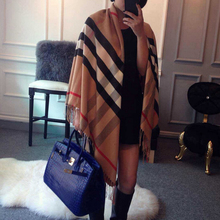 Wholesale Women Scarf Luxury Brand Plaid Scarf Long Tassel Striped Patchwork Women Pashmina Shawl Khaki Warm Cashmere Scarves(China (Mainland))