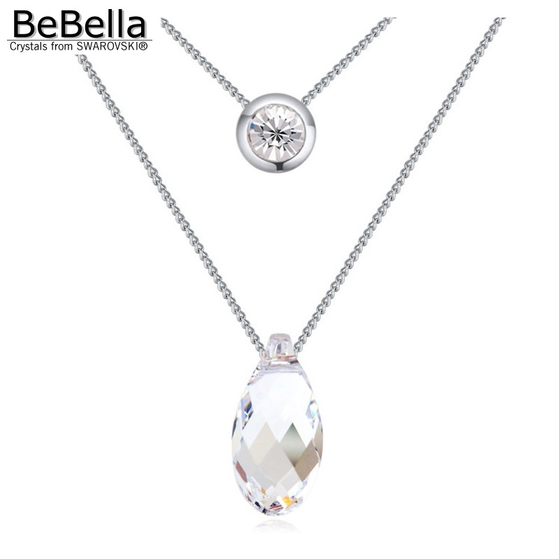 2015 new arrival crystal Water Drop pendant necklace of tow chains Made with SWAROVSKI ELEMENTS for woman&girl(China (Mainland))