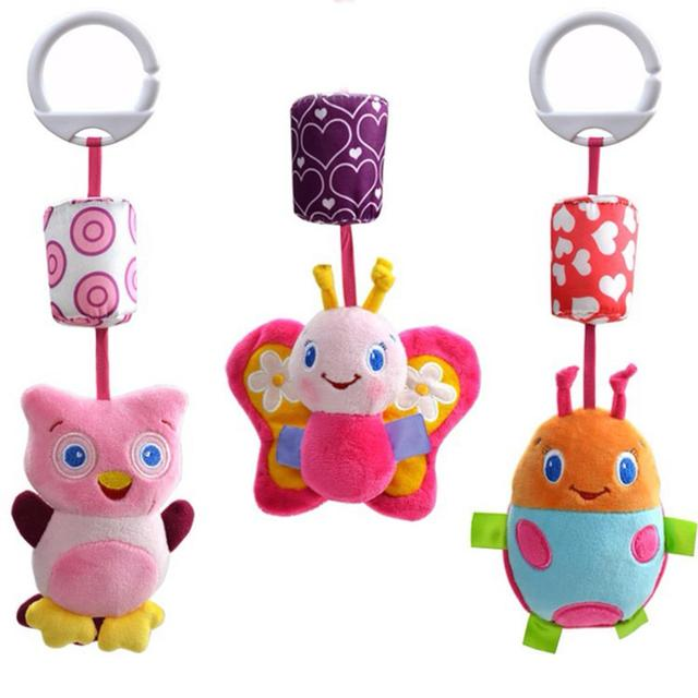 New Cartoon Cute Animals Lathe Rattles Hang Baby Kids Dolls Educational Toys Mobile Baby Toys 0-12 Months Kids Toy