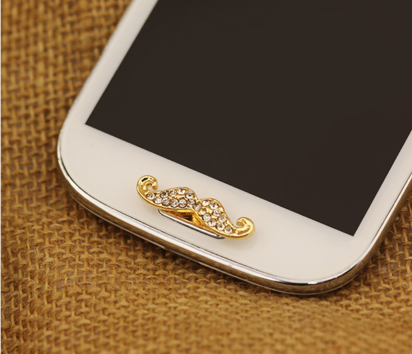 Hot Sale Free Shipping Phone Decoration Moustache Rhinestone Crystal Home Button Sticker for Samsung Galaxy s3 Note2 N7100 s3 4(China (Mainland))