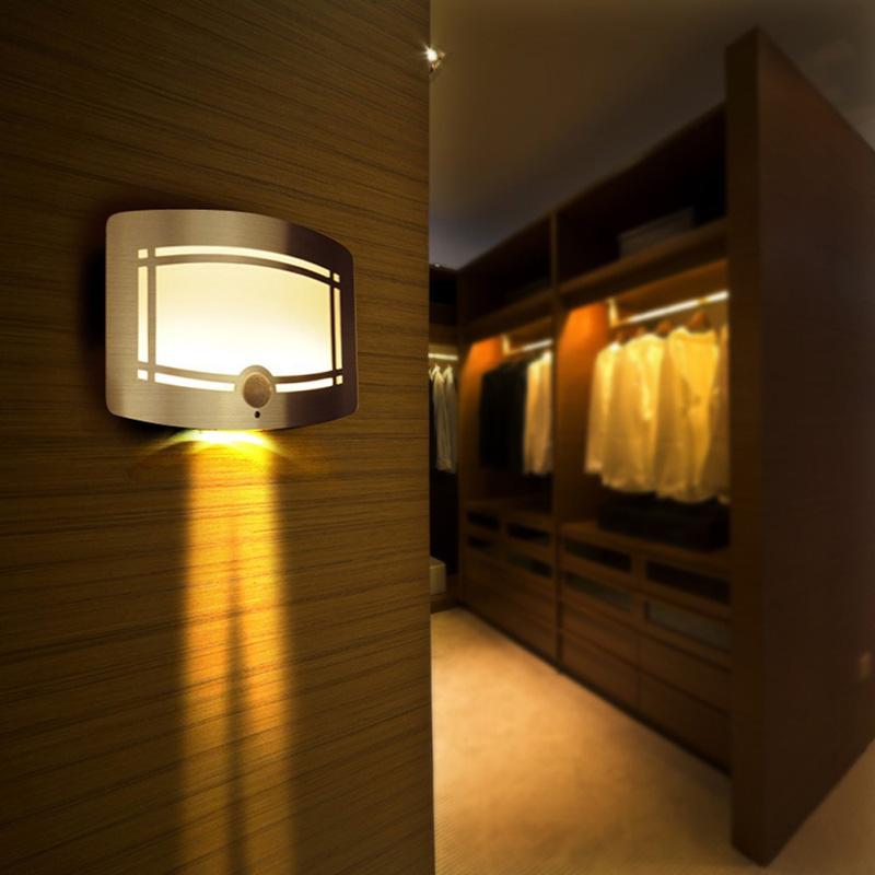 2016 Wireless Infrared Motion Sensor Wall LED Night Light Novelty Battery Powered Porch Night Lamp Motion Sensor Light For Home(China (Mainland))