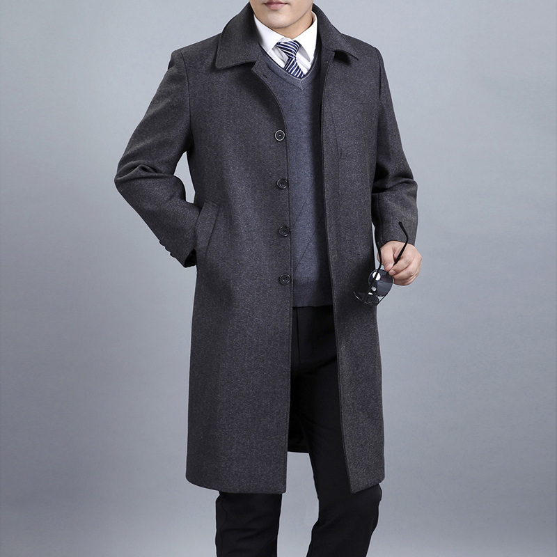 European and American Style Mens X-Long Wool Coats For Winter Men's Wool Jackets Coats Single Breasted Long Woolen Overcoat(China (Mainland))