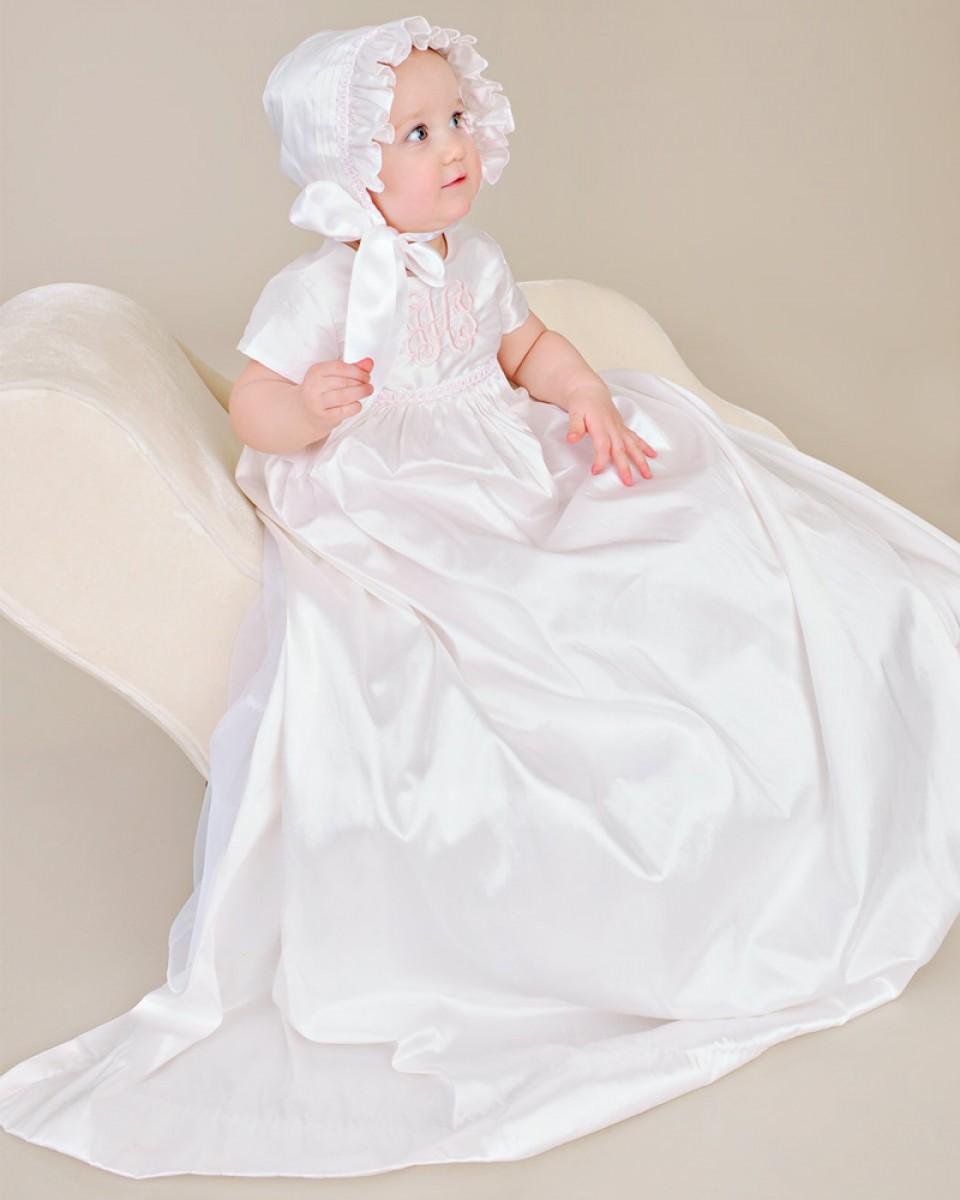 Christening baptism dress baby girls long appliques holy - Diademas para bautizo ...