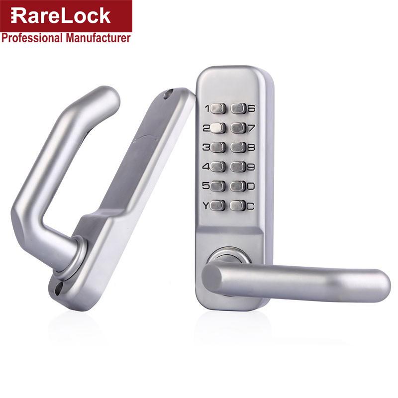Rarelock Waterproof Stain Nickel Security Lever Handle Mechanical Password Combination Yard Door Lock(China (Mainland))