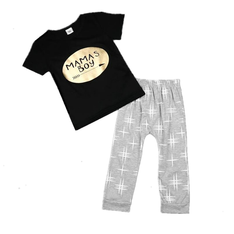 Summer baby boy clothes letter Mamas boy t-shirt + gray cross pants baby suit 2pcs child set for baby kids boys clothing sets(China (Mainland))