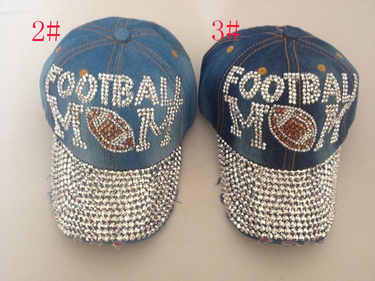 Free shipping wholesale fashion hat caps sunshading men and women's football cap rhinestone hat denim and cotton snapback cap(China (Mainland))