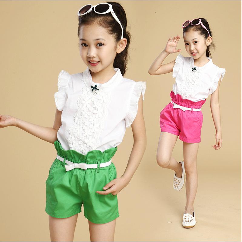 New 2015 Summer children baby girl shorts suit sweet trend Set girls clothing set kids' princess sleeve lace T-shirt+ pants(China (Mainland))
