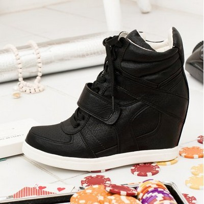 Free Shipping 2013 ASH Isabel Marant Wedges Sneakers for Women Shoes Height Increasing Fashion Boots Genuine Leather Lace-Up