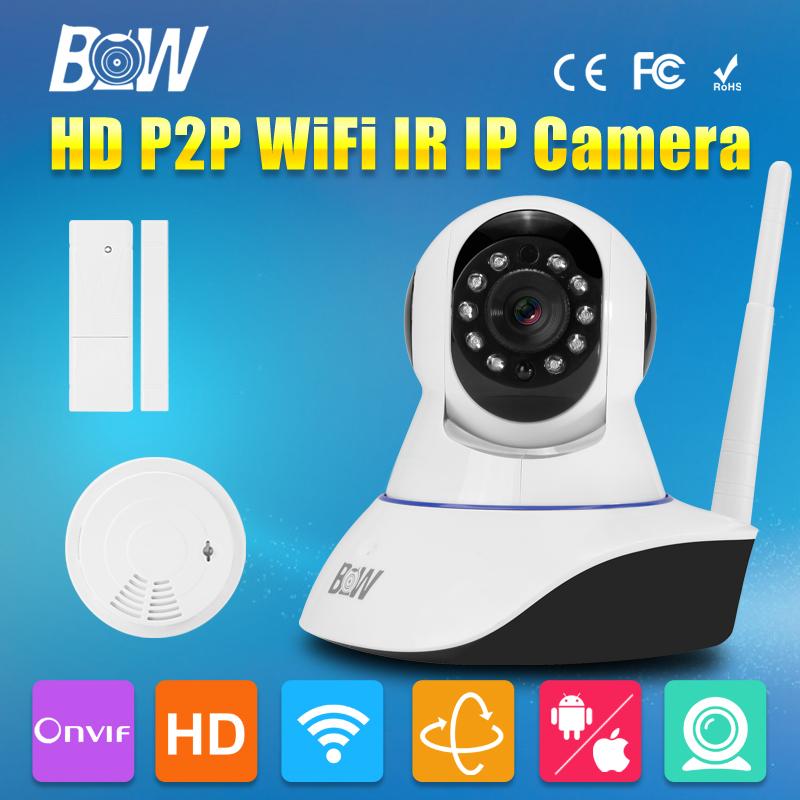 BW IP CCTV HD Wireless Wifi Camera 720P Pan Tilt Video Surveillance Camera Linkage Alarm System + Door Sensor + Smoke Detector(China (Mainland))