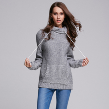 2016 Spring New Style Women Pullover Knitted Sweater Hooded Pocket Long Sleeve Loose Woolen sweater Dress(China (Mainland))