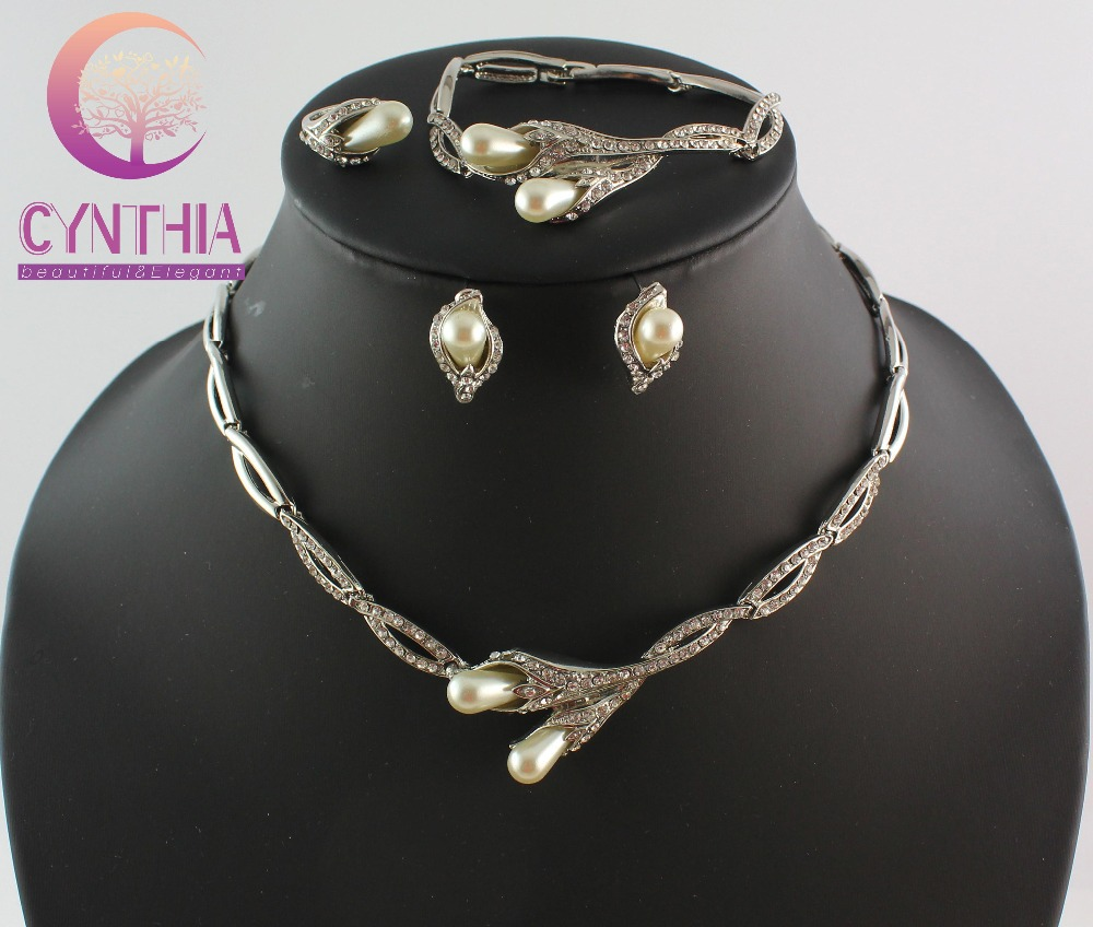 Classic Jewelry Sets Imitation simulated pearl African Silver Plated Bridal Acessories Costume Jewelry Sets WB-21191(China (Mainland))