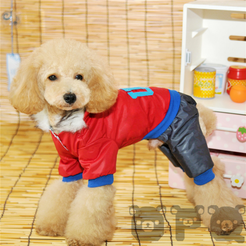 2015 New Year Red Dog Clothes Winter Coat USA Pattern Windcoat Pet Jumpsuit Warm Cloths(China (Mainland))