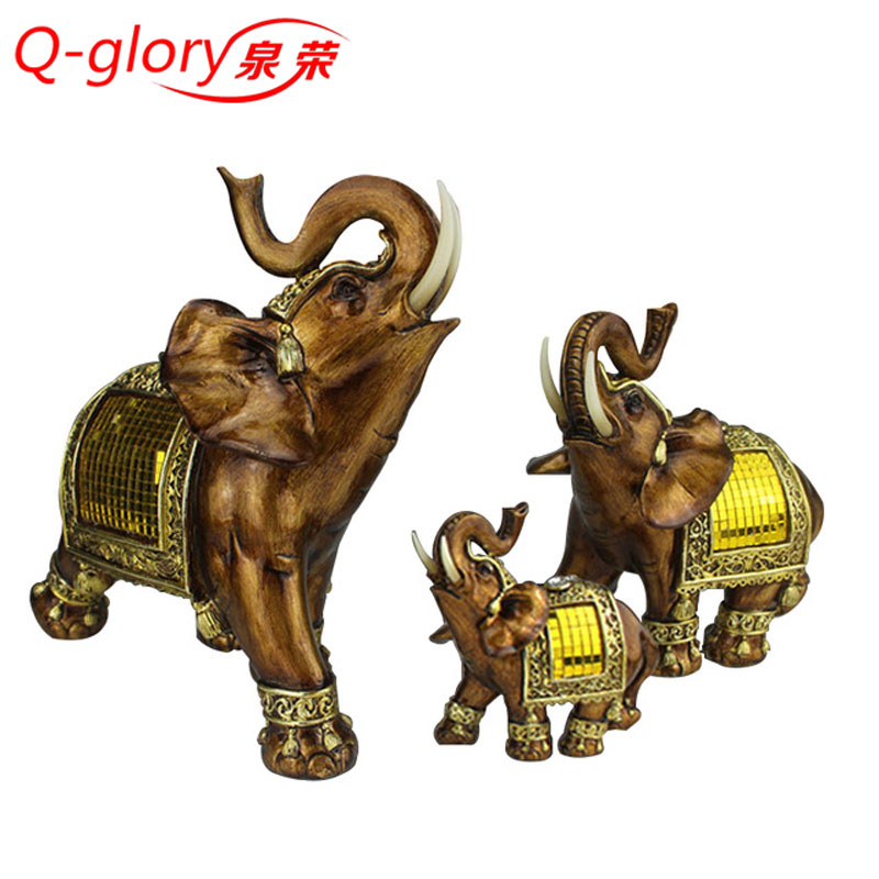 3pcs Lucky Elephant Figurines Decorative Crafts Home Decor