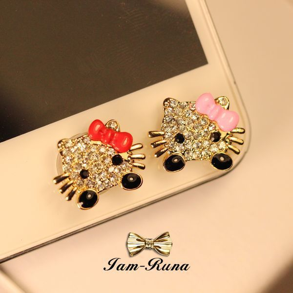 hello kitty Crystal Diamond Home Button Stickers for iPhone 6 plus 5 4 4s 4G iPad iTouch DIY cell phone decoration(China (Mainland))
