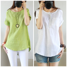 Hot Sale Summer Casual Women Linen Short Sleeve Shirt Blouse 2016 Latest Girl Tops Thin Blouses Plus Size XXL DP852541(China (Mainland))