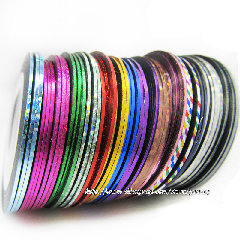 Wholesale Excellent Metallic Yarn with Glue Adhesive Stick Strip lines nail art Striping Tape nail roll 500pcs/lot free shipping(China (Mainland))