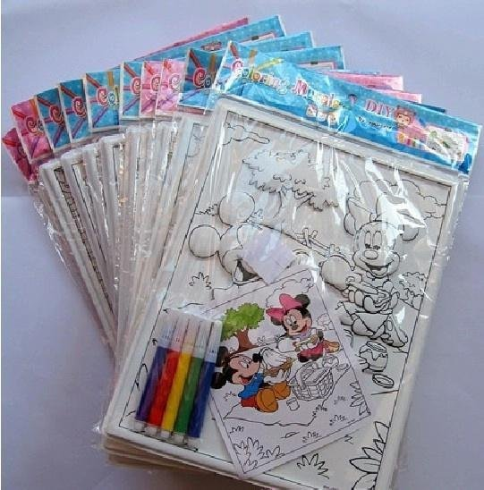 Free shipping 10pc/lot  children  relief type watercolor set---paper+5 piece water color pen+4 piece double faced adhesive tape