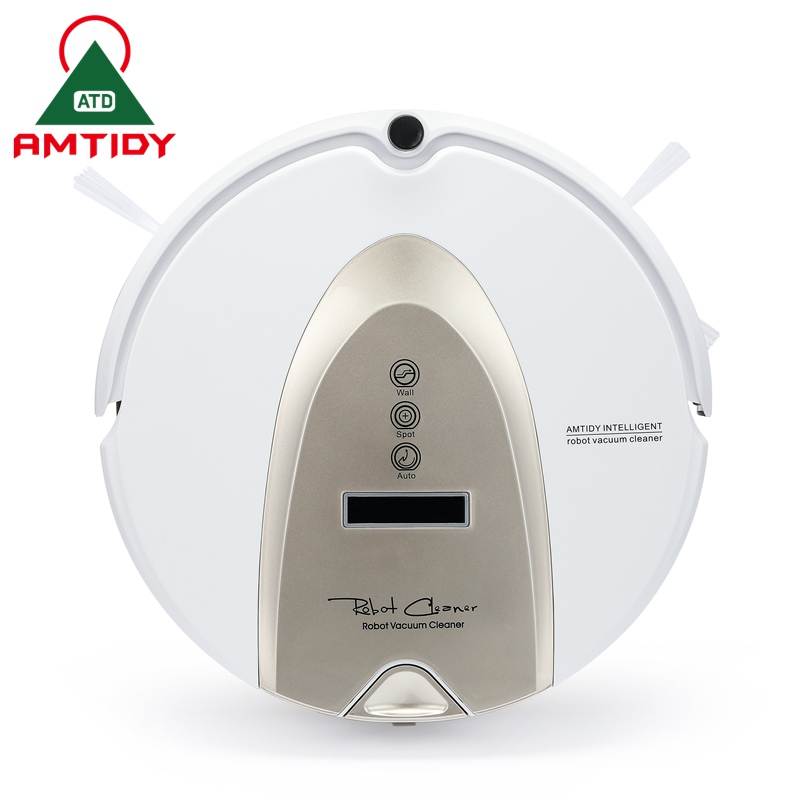 Amtidy Intelligent Robotic Vacuum Cleaner 2 Side Brushes Remote Control LCD Touch Screen Virtual Wall Robot Aspirador(China (Mainland))