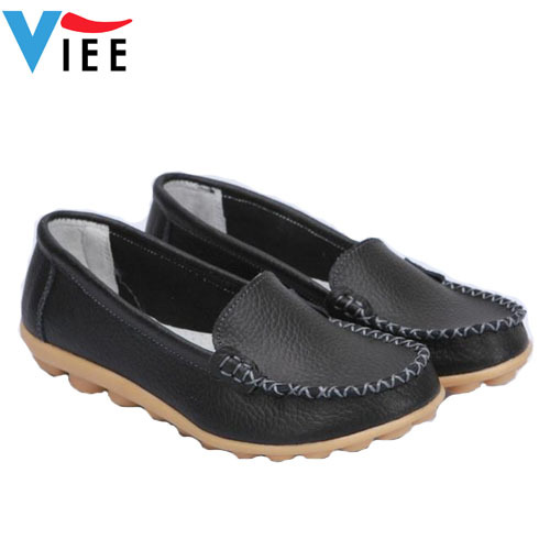 High quality mother work shoes genuine leather women shoes big size moccasins Anti-skid oxford boat shoes for women H0097(China (Mainland))