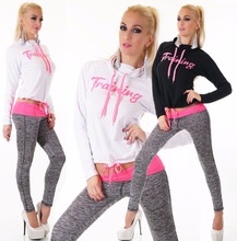 2016 Fashion Women Sportswear Printed Letter Fall Tracksuits Long-sleeve Casual Sport Costumes Mujer 2 Piece Set