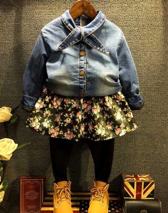 Baby Girls Fashion Clothing Sets Autumn Korean Denim Thickened Coats Toddler Cotton Flower Children Floral Pantskirts 5sets/LOT<br><br>Aliexpress