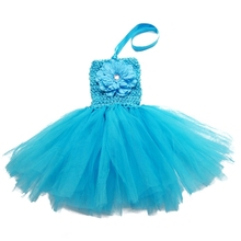 Solid Color Baby infant tutu dress with a peony flower in front toddler's summe dress for 0-2years(China (Mainland))