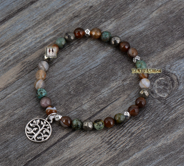 Boho African Turquoise Agate Tree Charm Stretch Bracelets Elastic Bracelet Handmade Natural Stone - SUKI FASHION JEWELRY store