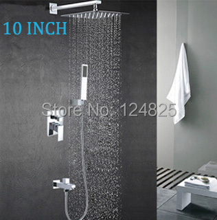 10 inch 25cm brass Square shower set faucets mixers taps with 3 way water torneira chuveiros banheiro lanos kpah shower(China (Mainland))
