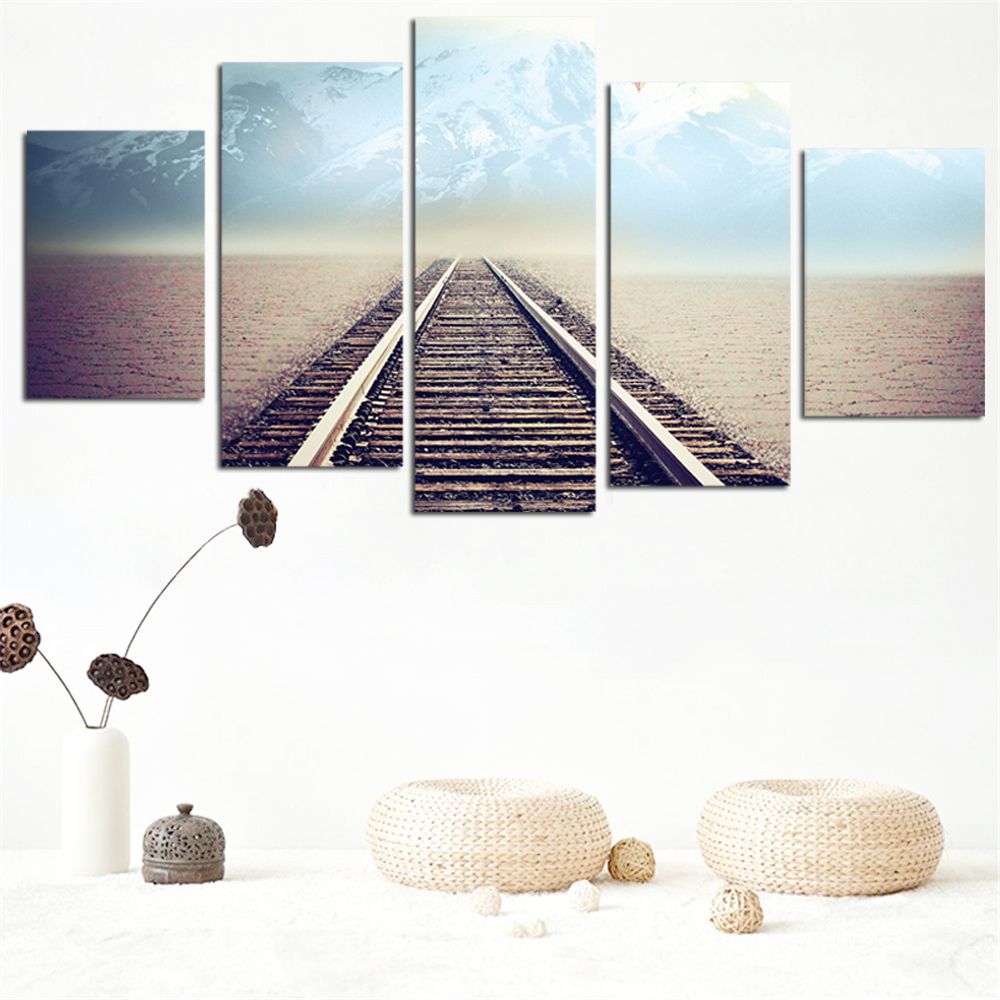 No Frame Oil Painting Railway Picture Canvas Painting Modern Wall Art Print Poster Rome Decor Wall Sticker Home Decoration 5pcs(China (Mainland))