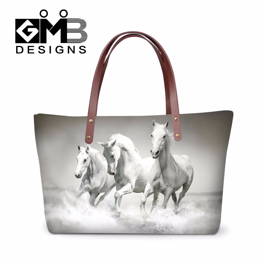 Best ladies messenger bags horse printed cool shoulder bag for women fashionable tote bag for girls school large waterproof bags(China (Mainland))